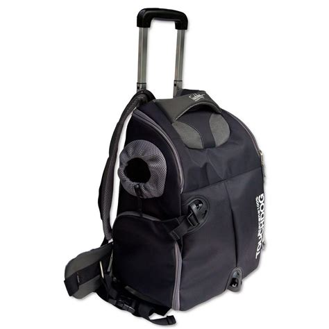 rolling carrier touchdog black wuffle duffle wheeled backpack pet carrier b84bkmd the home depot