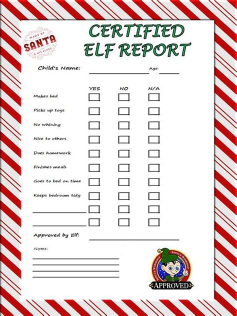 free printable elf report elf behavior report pdf inspired by elf on a shelf