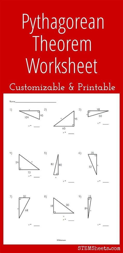 pythagorean theorem worksheet customizable and printable
