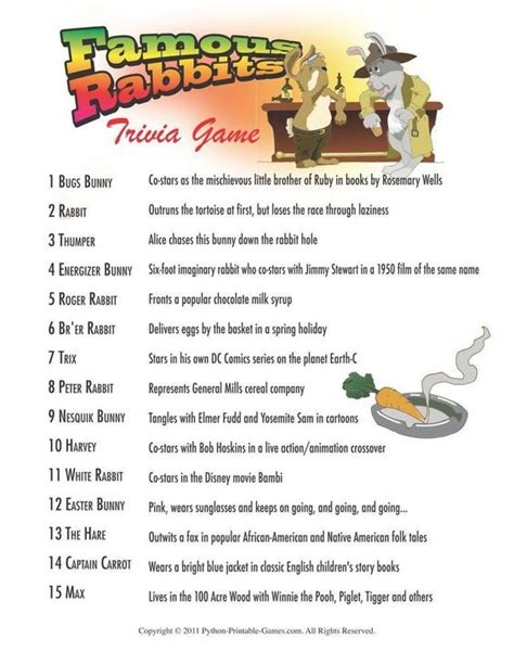 Easter Famous Rabbits Trivia 3 95 Easter Printable | easter famous rabbits trivia 3 95 easter printable