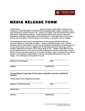 Media Release Form Forms And Templates Fillable Forms Sles For Pdf Word Media Release Template