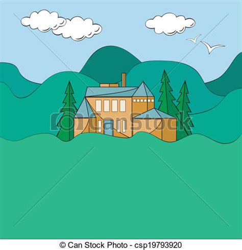 Country Ranch Style House Plans vector illustration of house in mountains illustration