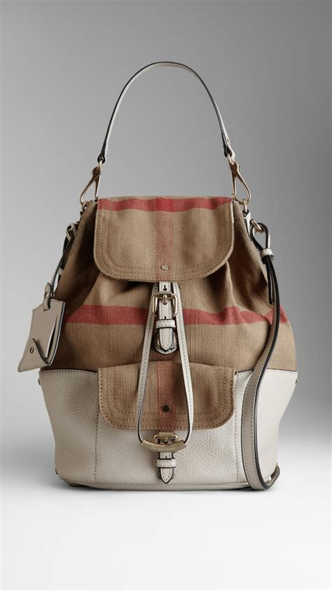 Burberry Check Canvas Hobo by Lyst Burberry Medium Canvas Check Hobo Bag