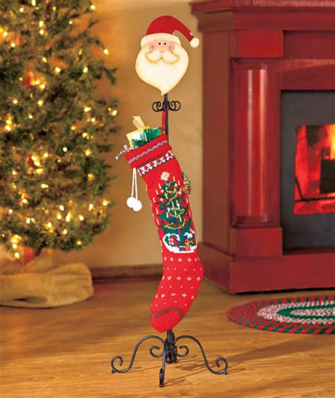 santa floor standing holiday mini stocking holder