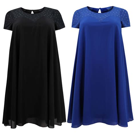 plus swing dress ladies womens plus size cap sleeve burnout swing dress ebay
