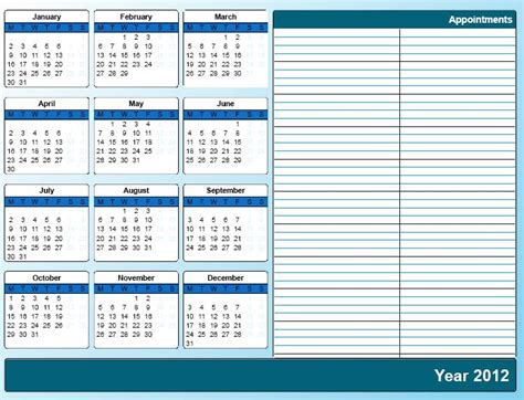 free printable weekly appointment calendar template 2012 printable calendar 2012 171 home life weekly