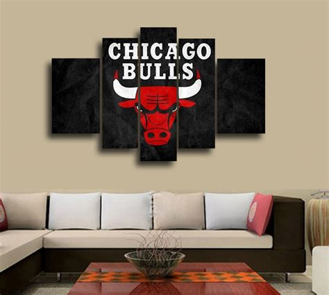 Wall Deco 4 nba chicago bulls wall decoration abstract canvas painting living room basketball fans