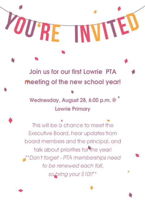 Invitation Letter For Pta Meeting Pta Meeting Lowrie Primary Pta