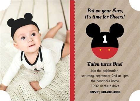 1st birthday invitation words mickey mouse birthday ideas wording activities