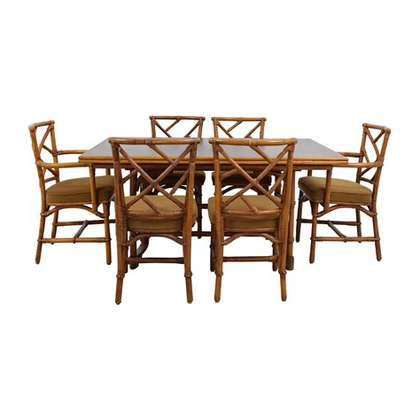 Bamboo Chairs Dining 64 Bamboo Dining Set With Six Chairs Tables
