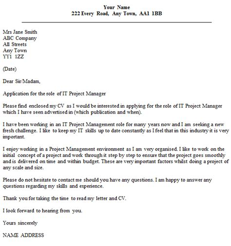 cover letter for a project manager position it project manager cover letter exle icover org uk