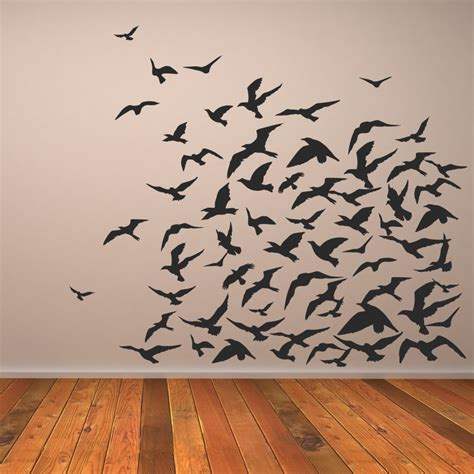 wall paintings flock of birds animals wall art decal wall stickers