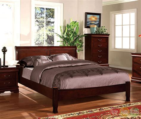 cherry bedroom furniture saint anne transitional cherry sleigh bedroom set with
