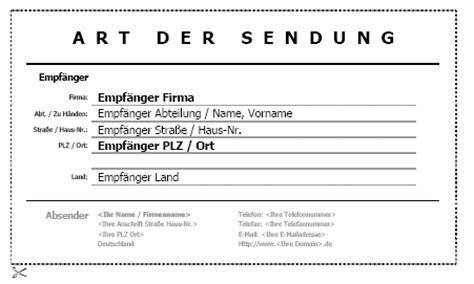 Versandaufkleber Drucken by Versandaufkleber 02 Vorlagen De