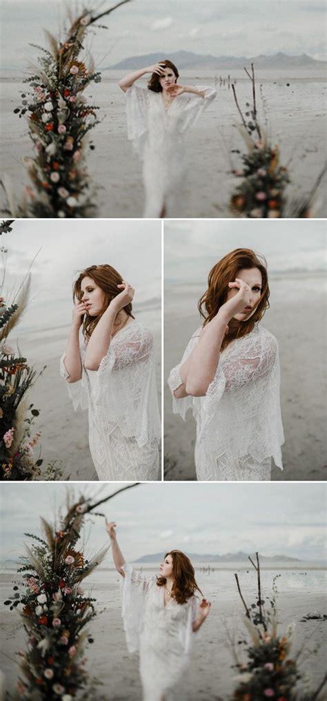 adventurous moody elopement photo session  floral