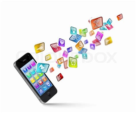 mobile phone technology media technology illustration with mobile phone and icons