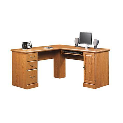 corner computer desk office depot sauder orchard corner computer desk 30 14 h x 84 18 w x 59 12 d carolina oak by office