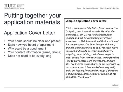 Cover Letter Rental Application Transitional Housing Presentation
