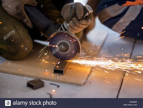 Cutting Metal With Angle Grinder Stock Photo Royalty Free