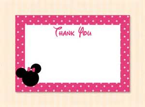 pink minnie mouse thank you card