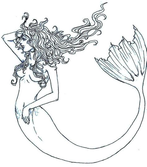 pin the on the mermaid template mermaid outline by pandabearr on deviantart mermaids