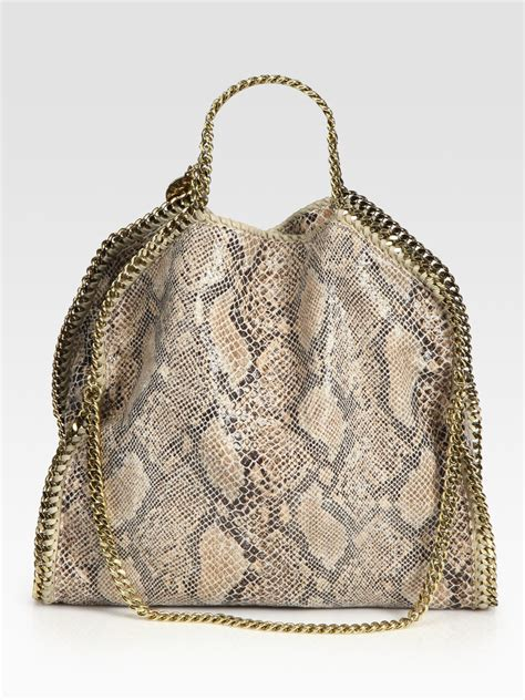 Purse Deal Stella Mccartney Designer Tote by Stella Mccartney Snake Printed Linen Falabella Foldover