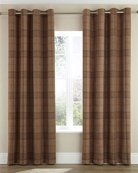 tartain curtains highland check tartan eyelet pair of lined curtains