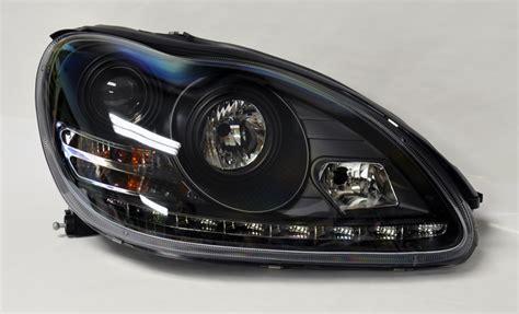 Drl Mercy S Class W220 mercedes s class w220 00 06 projector led drl headlights black pair rh lh ebay