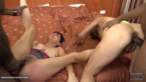Granny Interracial Group Sex Hardcore Fuck With Anal On