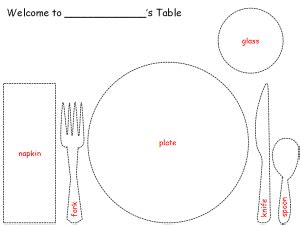 table setting paper craft