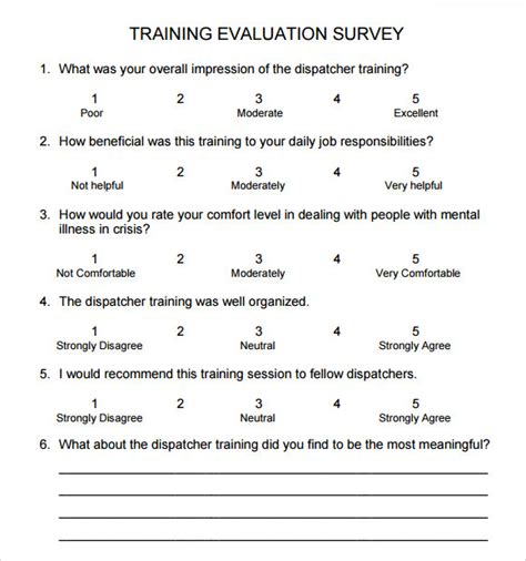training survey 9 download free documents in pdf word