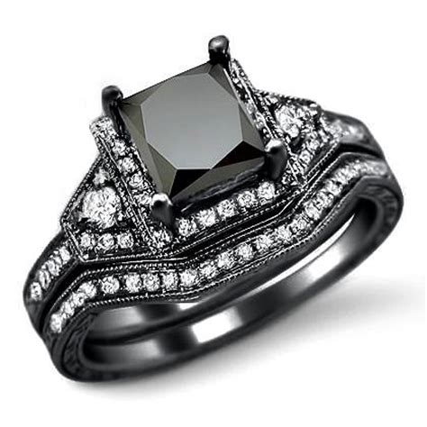 black wedding rings for with style rikof