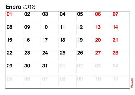 Calendario 2018 Enero Calendario Para Imprimir Enero 2018 Idx
