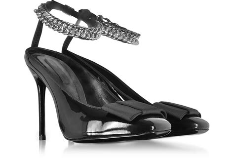 Forzieri Black Bow Taupe Satin And Leather Pumps by Wang Tiri Black Patent Leather W Grosgrain