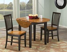 Drop Leaf Kitchen Tables And Chairs Small Drop Leaf Kitchen Table Painted With Brown And Black Color Plus 2 Chairs With
