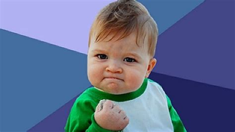 Triumphant Baby Meme - the boy from the success kid meme is looking pretty