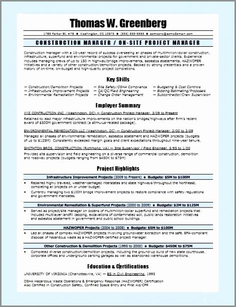 Project Manager Resume Format Resume Template Project Manager Exle Construction Project Project Manager Resume Template Microsoft Word