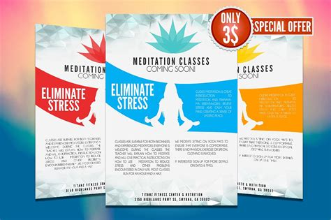 Yoga Flyer Template Flyer Templates Creative Market Ad Template