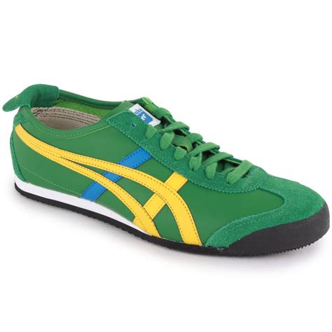 onitsuka tiger mexico 66 mens leather suede trainers green yellow