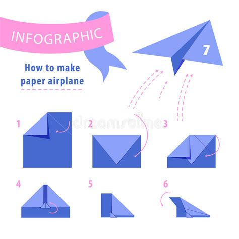How To Make Paper B - infographic to make paper airplane stock