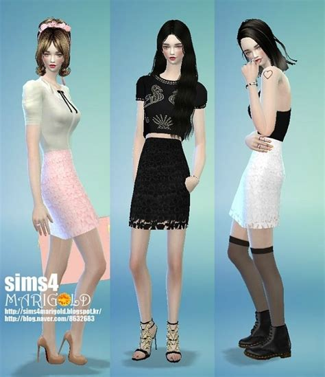 Lace H Line Skirt h line lace skirt at marigold via sims 4 updates sims 4