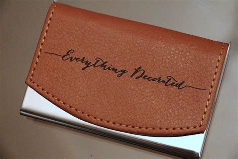 Business Card Holder Engraved Gift - custom engraved leather business card by everythingdecorated