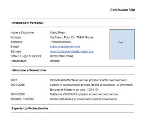 Formato Europeo Curriculum Vitae Da Compilare On Line Curriculum Vitae Cv Da Compilare