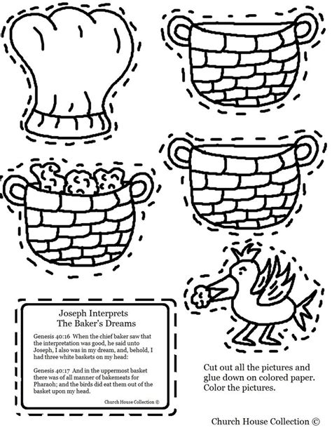 baker coloring pages preschool the cupbearer and the baker joseph interprets the baker