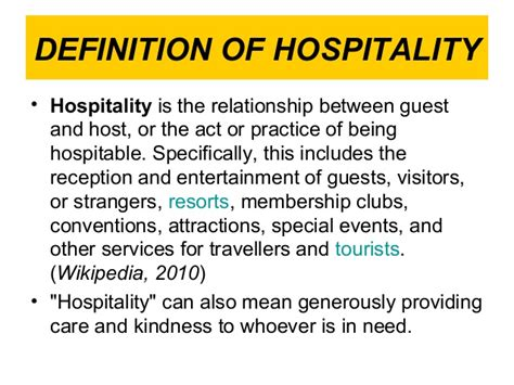 Mba Hospitality Management Meaning by Definition Of Hospitality