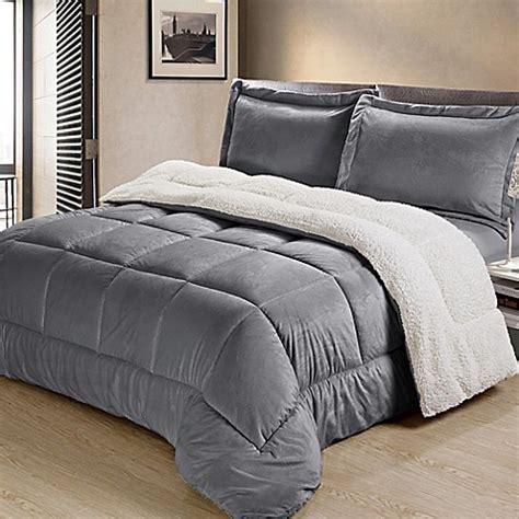 pewter comforter set buy sherpa down alternative 2 piece twin comforter set in
