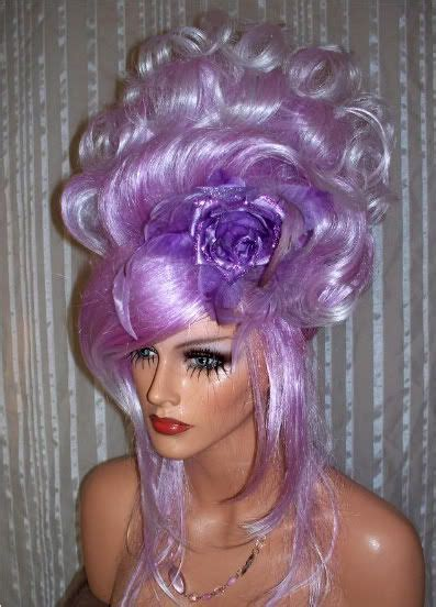 drag updo hair drag queen wig lavender whtie updo french twist curls