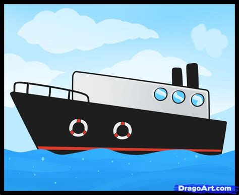how to draw a cargo boat how to draw a ship step by step boats transportation