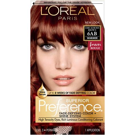 loreal auburn hair color l or 233 al superior preference permanent hair color 6ab