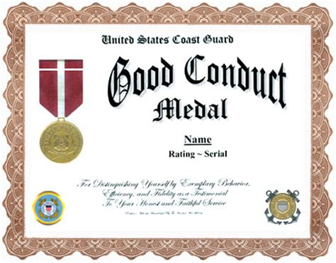 good conduct display recognition